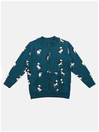 Li'l Tomatoes Boy Knitted Printed Winter jacket - Green
