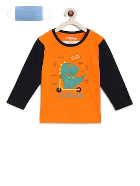 Li'l Tomatoes Boys T-shirt With FREE 3-Ply Face Mask Orange