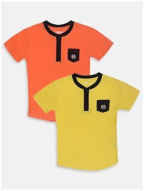 Li'l Tomatoes Boy Cotton Solid T-shirt - Orange