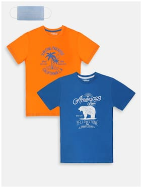 Li'l Tomatoes Cotton Printed T shirt for Baby Boy - Blue & Orange
