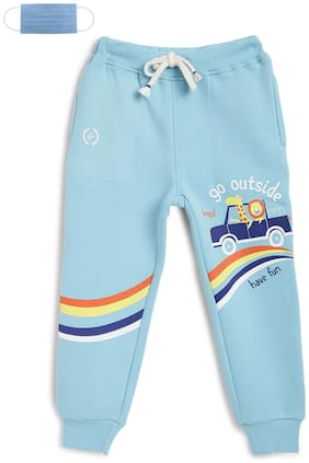 Li'l Tomatoes Cotton Printed Blue Color Joggers with Free 3-Ply Face Mask