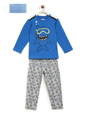 Li'l Tomatoes Boys Night Suit With FREE 3-Ply Face Mask Blue