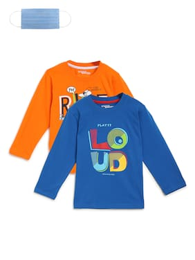 Li'l Tomatoes Boy Cotton Printed T-shirt - Blue & Orange
