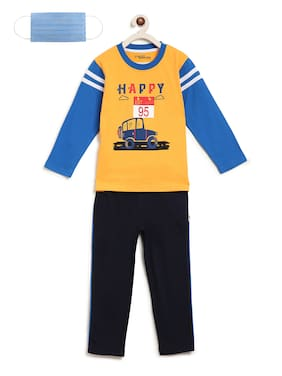 Li'l Tomatoes Boys Night Suit With FREE 3-Ply Face Mask Yellow