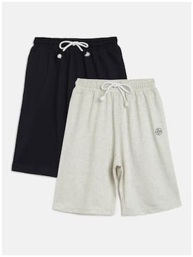 Li'l Tomatoes Cotton Grey;Blue Solid  Shorts With A Pen For Boy