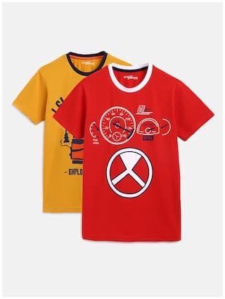 Li'l Tomatoes Boy Cotton Printed T-shirt - Yellow & Red