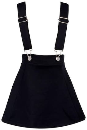 Lil Orchids Cotton Solid Dungaree For Girl - Black