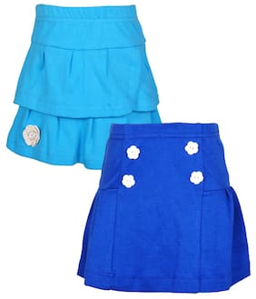 Lil Orchids Girl Cotton Solid A- Line Skirt Skirt - Blue