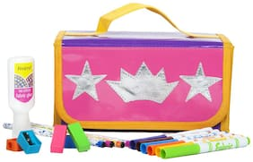Silver Pink  Crown and star Kids Stationary Organiser ( Return Gift / Birthday Gift / Travel Kit )