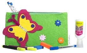 Green Butterfly Kids Pencil Pouch ( Return Gift / Birthday Gift/ Stationary organiser/wallet / coin pouch)