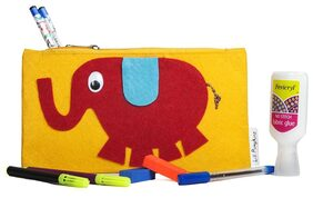 Yellow Elephant Kids Pencil Pouch ( Return Gift / Birthday Gift/ Stationary organiser/wallet / coin pouch)