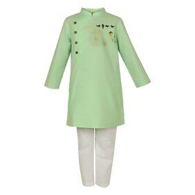 LILPICKS Boy Cotton Solid Kurta Pyjama Set - Green