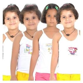 Lilsugar Camisole for Girls - White , Set of 4