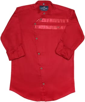 LITTLE DINO Boy Cotton Solid Shirt Red