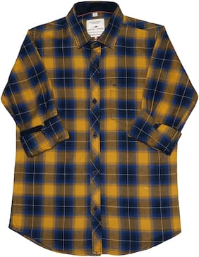 LITTLE DINO Boy Cotton Checked Shirt Yellow & Blue