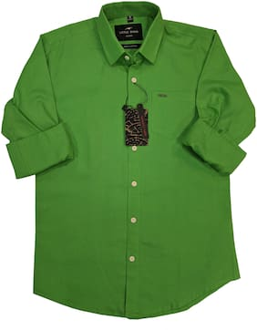 LITTLE DINO Boy Cotton Solid Shirt Green