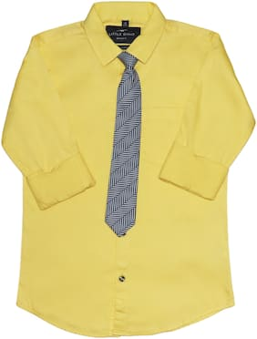 LITTLE DINO Boy Cotton Solid Shirt Yellow