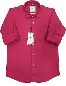 LITTLE DINO Boy Cotton Solid Shirt Pink