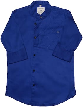 LITTLE DINO Boy Cotton blend Solid Shirt Blue