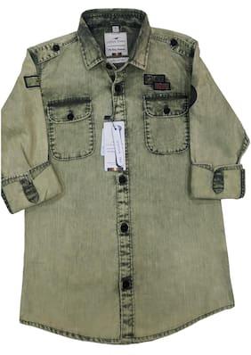 LITTLE DINO Boy Cotton Solid Shirt Green