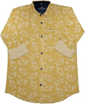 LITTLE DINO Boy Cotton Floral Shirt Yellow