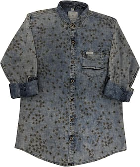 LITTLE DINO Boy Denim Printed Shirt Grey