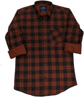 LITTLE DINO Boy Cotton Checked Shirt Maroon