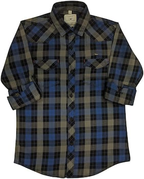 LITTLE DINO Boy Denim Checked Shirt Multi