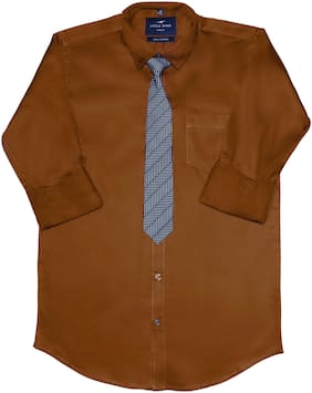 LITTLE DINO Boy Cotton Solid Shirt Brown