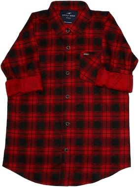 LITTLE DINO Boy Cotton Checked Shirt Red & Black