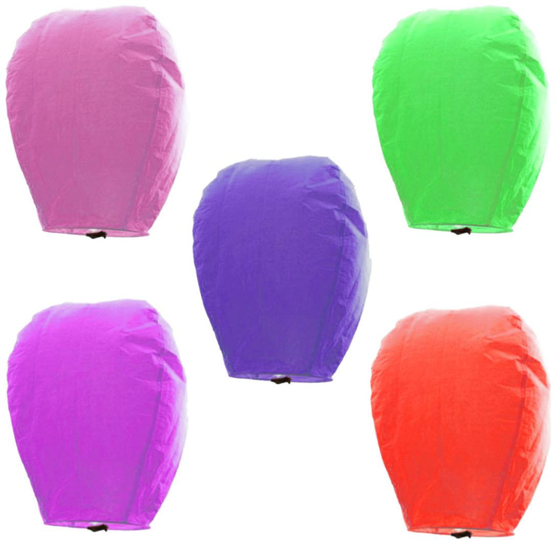 Little India Set Of 5 Multicolor Paper Made Sky Lanterns 511 by Lamps Of India