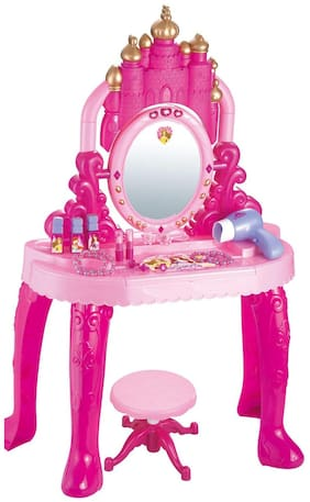 Little Kids Girls Princess Battery Operated Glamour Beauty Makeup Pretend Role Play Set (Multicolour and Modal)