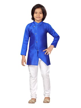 Little Mafia by Aarika Boys Blue-White Color Silk Kurta Pyjama Pack of 1 (Set of 2)