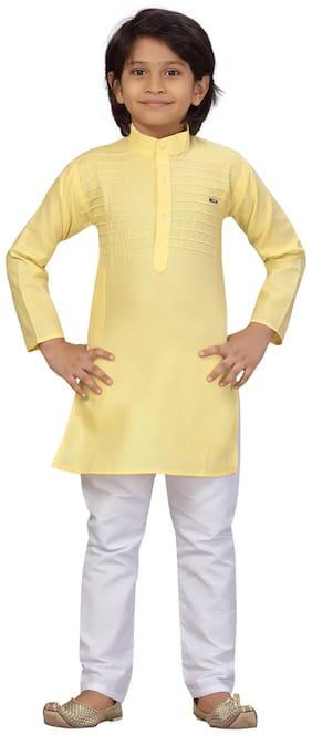 Little Mafia By Aarika Boys Light Yellow;White Color Cotton Kurta Pyjama Pack of 1 (Set of 2)