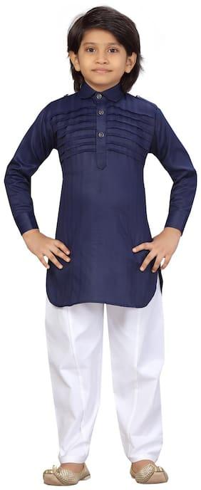 Little Mafia By Aarika Boys Navy Blue;White Color Cotton Pathani Kurta Pyjama Pack of 1 (Set of 2)
