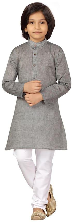 Little Mafia by Aarika Boys Grey-White Color Cotton Kurta Pyjama Pack of 1 (Set of 2)