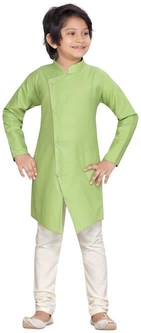 Green;Cream Kurta Pyjama Set