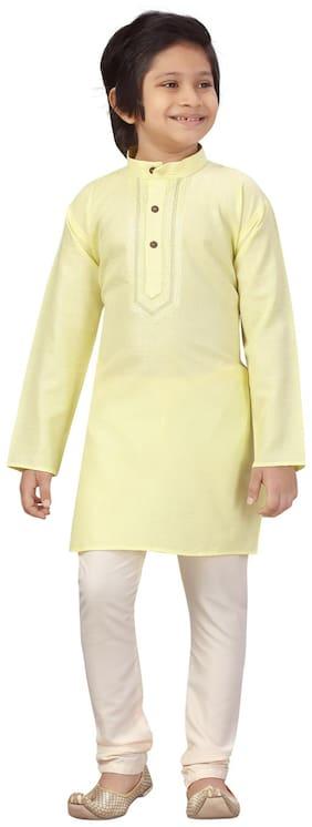 LITTLE MAFIA BY AARIKA Boy Cotton Solid Kurta pyjama set - Yellow