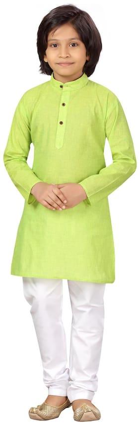 Light Green;White Kurta Pyjama Set