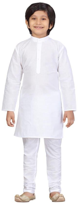 LITTLE MAFIA BY AARIKA Boy Cotton Solid Kurta pyjama set - White