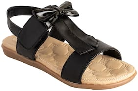 LITTLE SOLES Black & Brown Girls Sandals