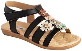 LITTLE SOLES Black & Brown Girls Sandals