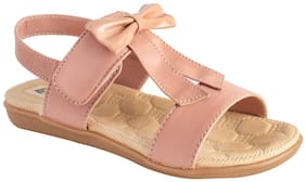 LITTLE SOLES Pink & Brown Girls Sandals
