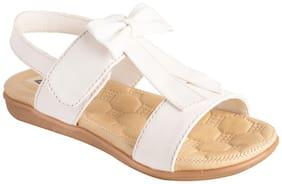 LITTLE SOLES White & Brown Girls Sandals