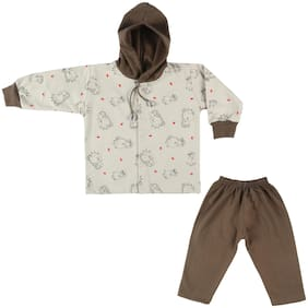 LK Vyapaar Fullsleeves Teddy Print Hooded Cotton Brown T-shirt Pant For Boys Girls