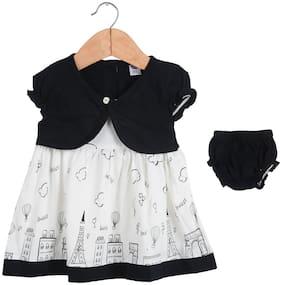 LK Vyapaar Girls Frock Cotton Black Dress Lovely Print