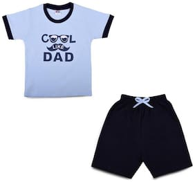 LK Vyapaar Kidswear Graphic Print Blue Tshirt Pant Combo Set Outfits for Boys Girls