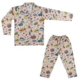 MABYN Girl's Cotton Printed Full sleeves Nighty - Orange