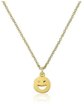 LMTS Whimsical 14K Gold Plated Happy Hour Smiley Face CZ Pendant Necklace