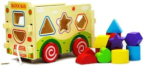 Lodestone's Wooden Assembling Shape Sorter Bus Educational Intellectual Block Toys for Children